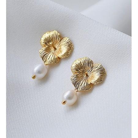 Paauksuoti auskarai su perlais