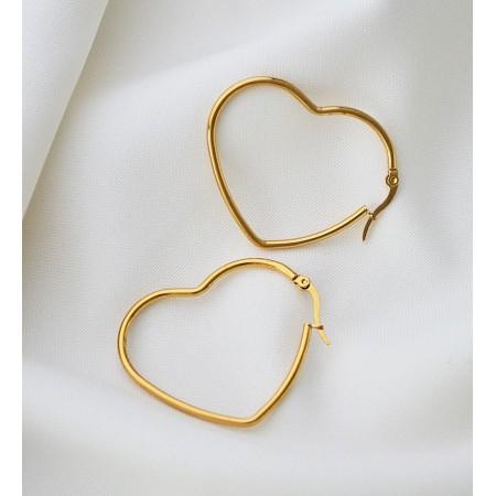 Dideli hoops auskarai širdelės